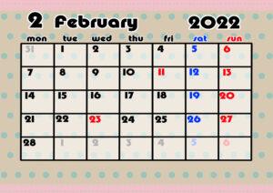 2021年月間カレンダー かわいい 月曜始まり 令和4年2月