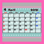 令和3年ガーリー月間カレンダー 4月始まり 日曜始まり 無料ダウンロード・印刷