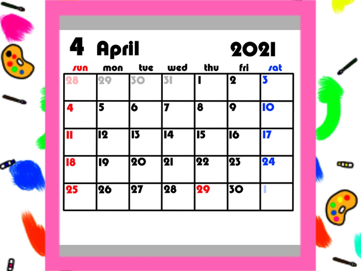 4月始まり 2021年月間カレンダー シンプル 日曜始まり 無料ダウンロード・印刷