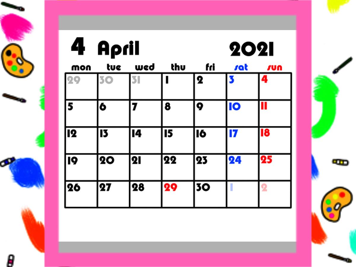 4月始まり 令和3年月間カレンダー シンプル 月曜始まり 無料ダウンロード・印刷