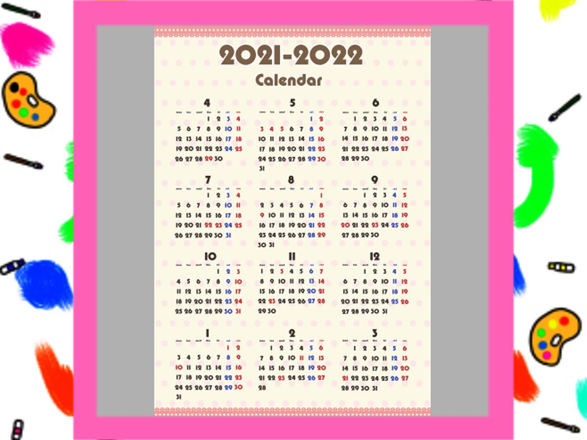 令和3年ガーリーデザイン 4月始まり 年間カレンダー 無料ダウンロード・印刷