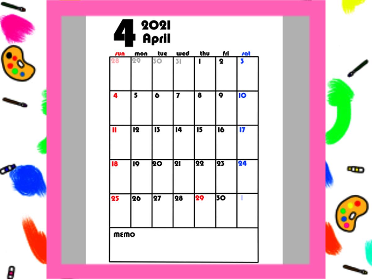 4月始まり月間カレンダー 2021年 シンプル 日曜始まり 無料ダウンロード・印刷