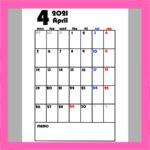 4月始まり月間カレンダー 令和3年 シンプル 月曜始まり 無料ダウンロード・印刷