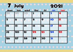 2021年月間カレンダー かわいい 月曜始まり 令和3年7月