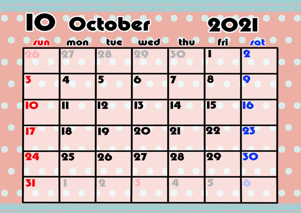 2021年月間カレンダー かわいい 日曜始まり 令和3年10月