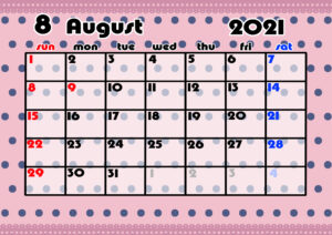 2021年月間カレンダー かわいい 日曜始まり 令和3年8月