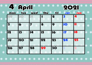 2021年月間カレンダー かわいい 月曜始まり 令和3年4月