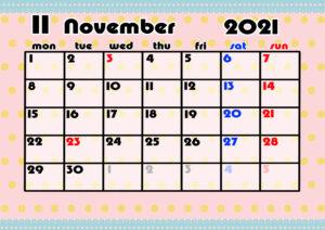 2021年月間カレンダー かわいい 月曜始まり 令和3年11月