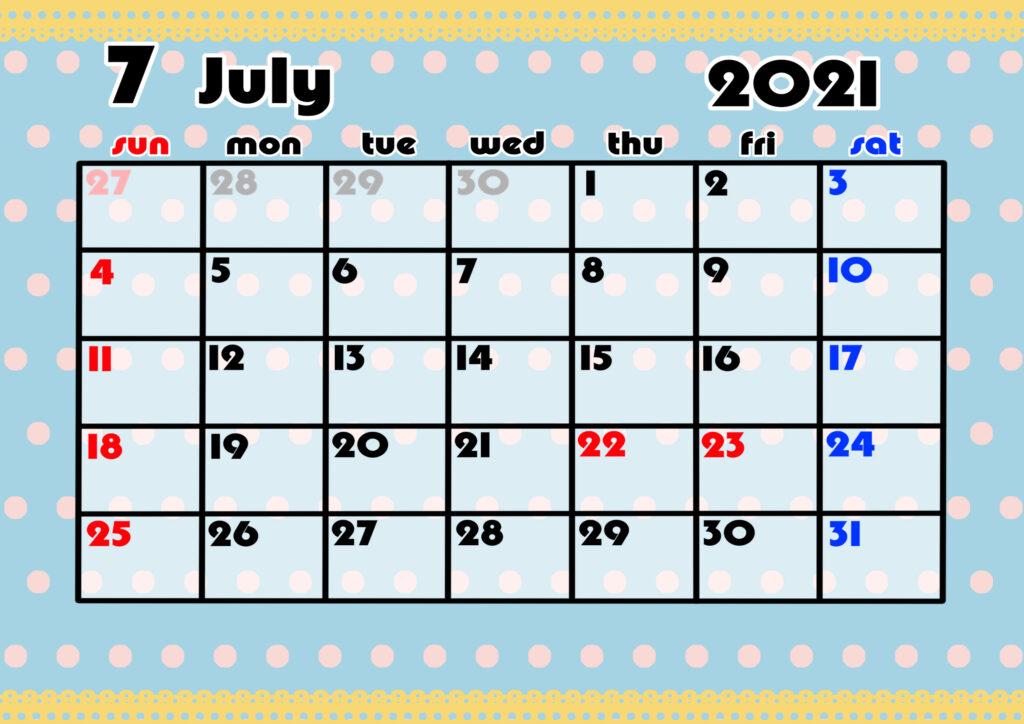 2021年月間カレンダー かわいい 日曜始まり 令和3年7月