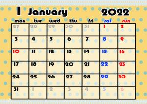 2021年月間カレンダー かわいい 月曜始まり 令和4年1月