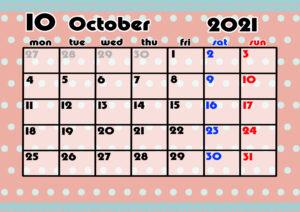 2021年月間カレンダー かわいい 月曜始まり 令和3年10月