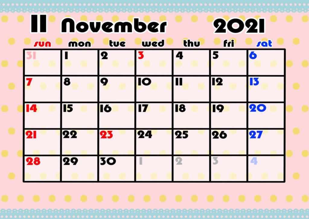 2021年月間カレンダー かわいい 日曜始まり 令和3年11月