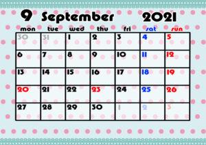2021年月間カレンダー かわいい 月曜始まり 令和3年9月
