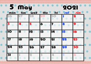 2021年月間カレンダー かわいい 月曜始まり 令和3年5月