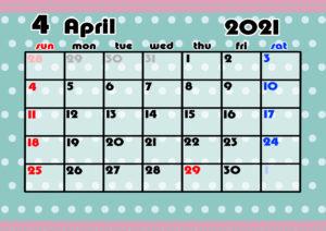 2021年月間カレンダー かわいい 日曜始まり 令和3年4月