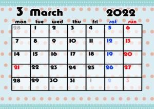 2021年月間カレンダー かわいい 月曜始まり 令和4年3月