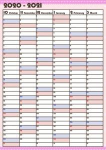 令和3年4月年間スケジュール4月~9月 かわいい ガーリーデザイン