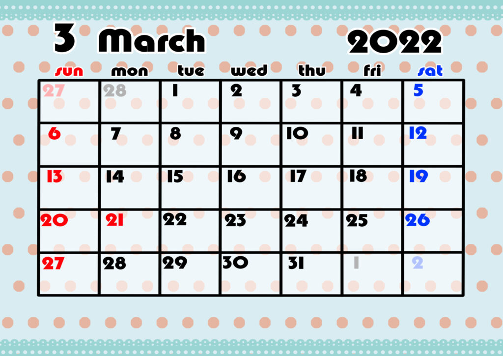 2021年月間カレンダー かわいい 日曜始まり 令和4年3月