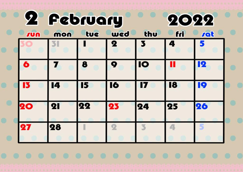 2021年月間カレンダー かわいい 日曜始まり 令和4年2月