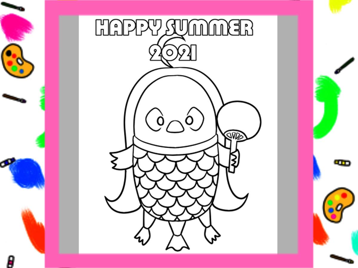 2021年 ぬりえの暑中見舞い 無料テンプレート ダウンロード・印刷