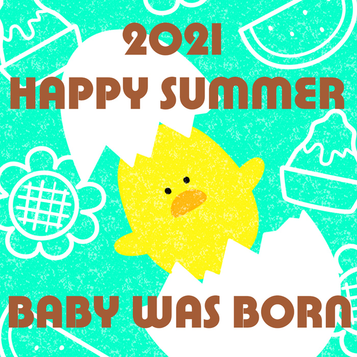 2021年暑中見舞い ラインスタンプ画像 出産報告