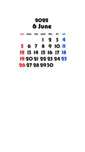 2022年(令和4年) 待ち受けカレンダー 壁紙 無料ダウンロード 6月