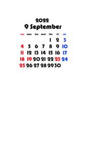 2022年(令和4年) 待ち受けカレンダー 壁紙 無料ダウンロード 9月
