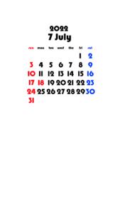 2022年(令和4年) 待ち受けカレンダー 壁紙 無料ダウンロード 7月
