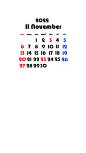 2022年(令和4年) 待ち受けカレンダー 壁紙 無料ダウンロード 11月
