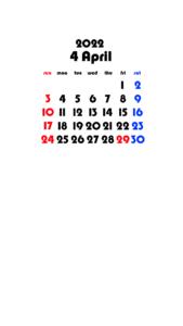 2022年(令和4年) 待ち受けカレンダー 壁紙 無料ダウンロード 4月